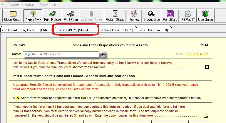How to list more Transactions on 8949 Taxwise Ultimate Tax – Capital Gains Worksheet 2014
